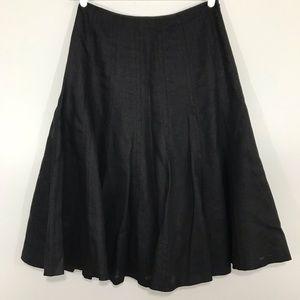 Lauren Ralph Lauren Black 100% Linen Midi Skirt